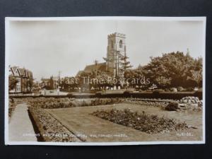 Essex: Walton on Naze Gardens & Parish Church c1949 RP Postcard by Valentine's