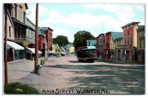 Early 1900s Main Street w/ Trolley, Winthrop, Maine Postcard
