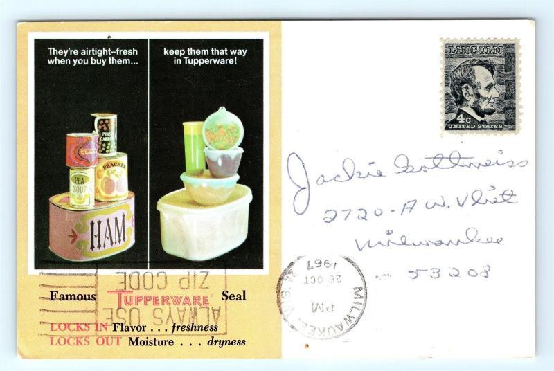 postcard tupperware party invitation advertising 1967 j11