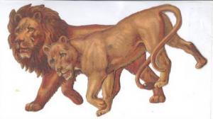 TUCK, Die-Cut Pair Of Animals, LIONS, Noah´s Ark Series, 1890s