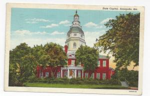 Annapolis MD State Capitol 1941 Maryland Postcard