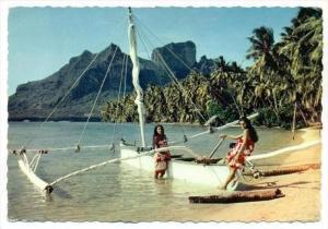 Pirogue A Voile Sur La Plage De l'Hotel Bora-Bora, Tahiti, Oceania, 1950-1970s