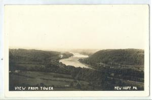 USA, View from Tower, New Hope, PA, unused real photo Postcard RPPC
