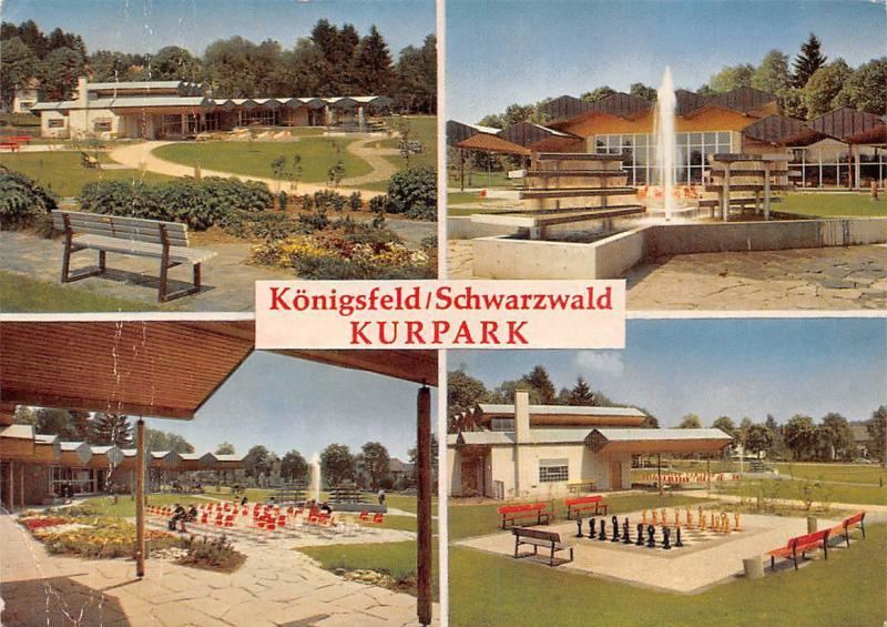 Koenigsfeld Schwarzwald Kurpark Brunnen Fountain Chess Bench