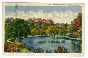 Waukegan, Illinois to Indianapolis, Indiana 1938 used Postcard, Roosevelt Park