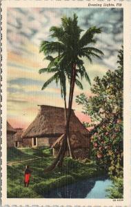 Evening Lights Fiji Palm Trees Hut Person Red UNUSED Vintage Linen Postcard D99