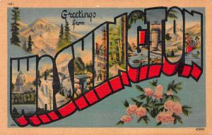 Greetings From Washington State, Early Linen Postcard, Unused