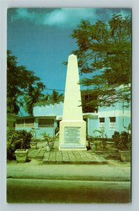 Barbados W Indies- Caribbean, Historic Monument at Holetown, Chrome Postcard