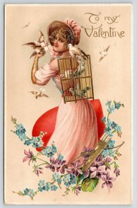 Victorian Valentine~Lovely Lady With Bird Back Basket~Dove~Art Nouveau~Embossed