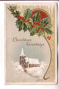 Embossed, Church with Snow, Christmas, AS Meeker, 506, Split Ring Cancel, Che...