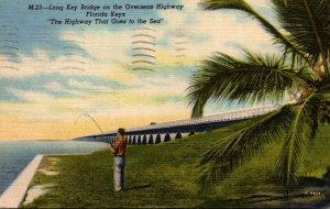 Florida Keys Fishing Along The Overseas Highway At Long Key Bridge 1952 Curteich