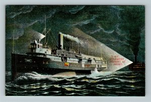 D & C Steamers Passing At Night Vintage Postcard