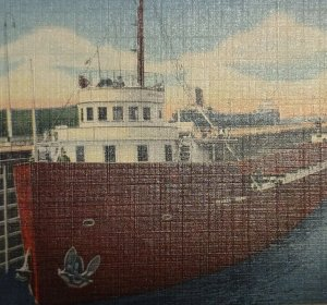 Postcard Soo Locks Michigan 1952  Ships Freighters Boats Linen Unposted 102