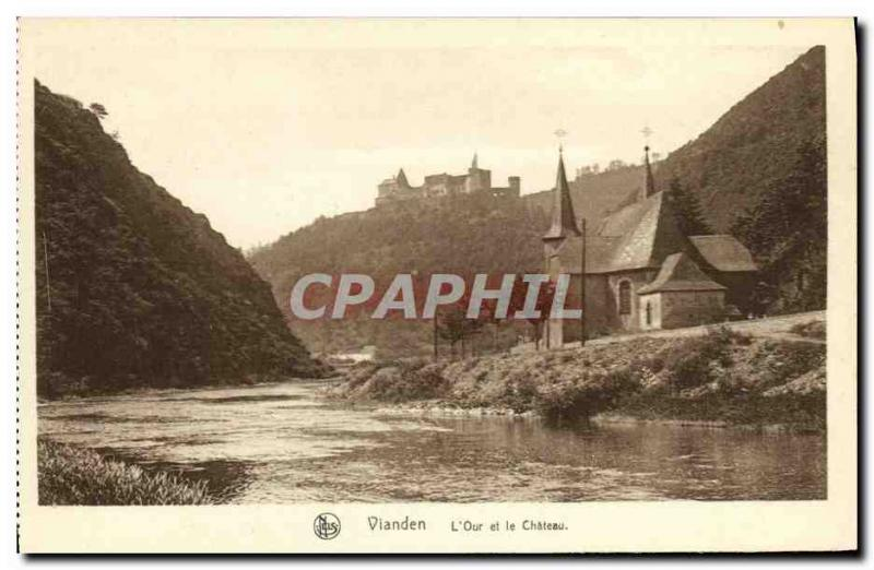 VINTAGE POSTCARD Vianden L Our and the Castle