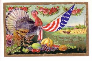 Thanksgiving Greetings, Turkey and Flag
