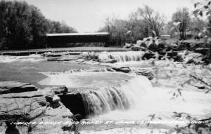 Spencer IN Upper Cataract Falls Covered Bridge Over Mill Creek~Rapids~RPPC 1950s