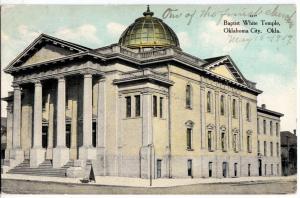 1909 OKLAHOMA CITY Oklahoma Ok Postcard BAPTIST WHITE TEMPLE