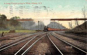 Albany New York Long Freight Going West Antique Postcard K53523