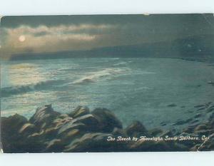 Divided-Back THE BEACH UNDER MOONLIGHT Santa Barbara California CA G6286