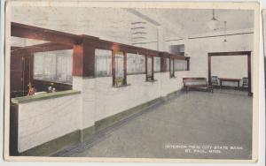 Minnesota Mn Postcard 1918 ST PAUL City STATE BANK Interior Teller