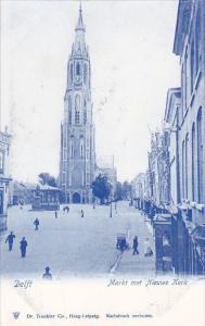 DELFT (South Holland), Netherlands, 1900-1910s; Markt Met Nieuwe Kerk