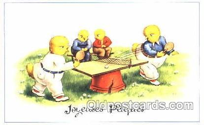 Chickens, Table Tennis, Ping Pong, postcard postcards