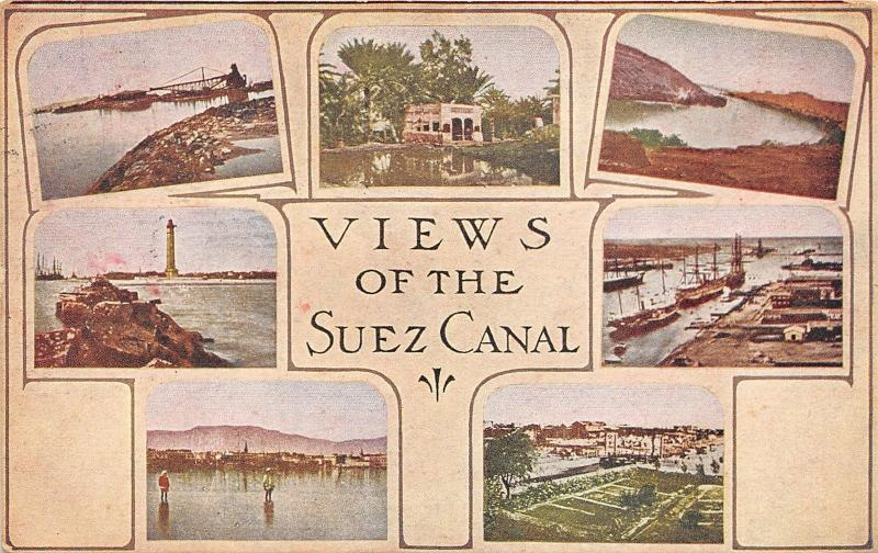 Eqypt~Suez Canal~7 Views~Rice Fields~Bridge~1909 Roosevelt Tour Arthur Carper Pc