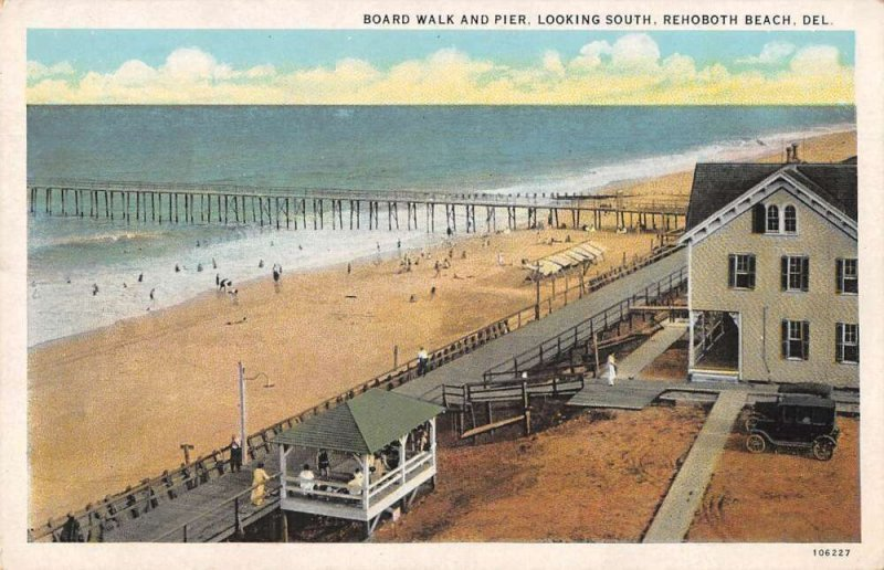Rehoboth Beach Delaware Boardwalk and Pier Looking South Postcard AA37175