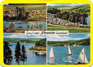 Gruss vom Hennesee Sauerland, Campingplatz Lake Boats Bateaux Lac Panorama