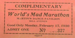 1930 World's Mad Marathon Martin's Dance Pavillion Ticket #2 P1
