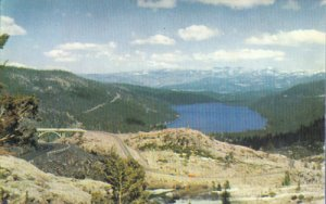 DONNER LAKE seen from Highway 40 on Donner Summit, 1950s  Union 76 series