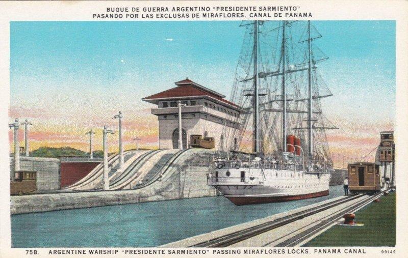 Panama Canal Zone Argentine Warship President Sarmiento In Miraflores Lock 1510a