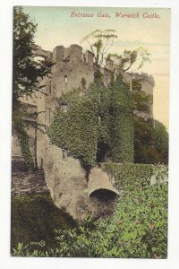 UK England Warwickshire Warwick Castle Moat Entrance Gate Vtg Postcard