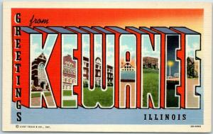 Vintage KEWANEE Illinois Large Letter Postcard Curteich Linen c1940s