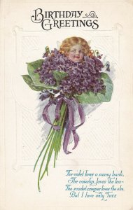BIRTHDAY GREETINGS, 1900-1910s; Face Of A Girl On A Buquet Of Purple Flowers