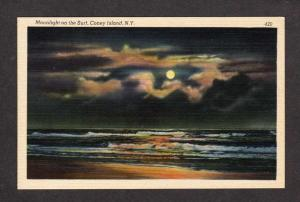 NY Coney Island Moonlight View New York Postcard Linen PC