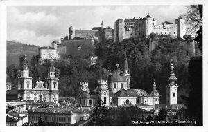 Salzburg Altstadt vom Monchsberg Church Castle Postcard