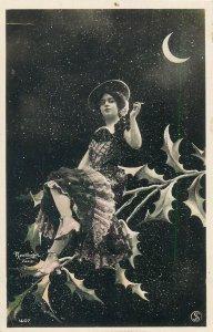 Fairy Lady Cigarette Moon Hand Tinted RP fantasy surrealism France Reutlinger