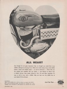 1966 Jawa Motorcycle Engine Print Ad, Heart Shaped, All Heart