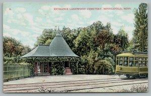 Minneapolis Minnesota~Lakewood Cemetery~Big Trolley at Entrance~1908 Postcard