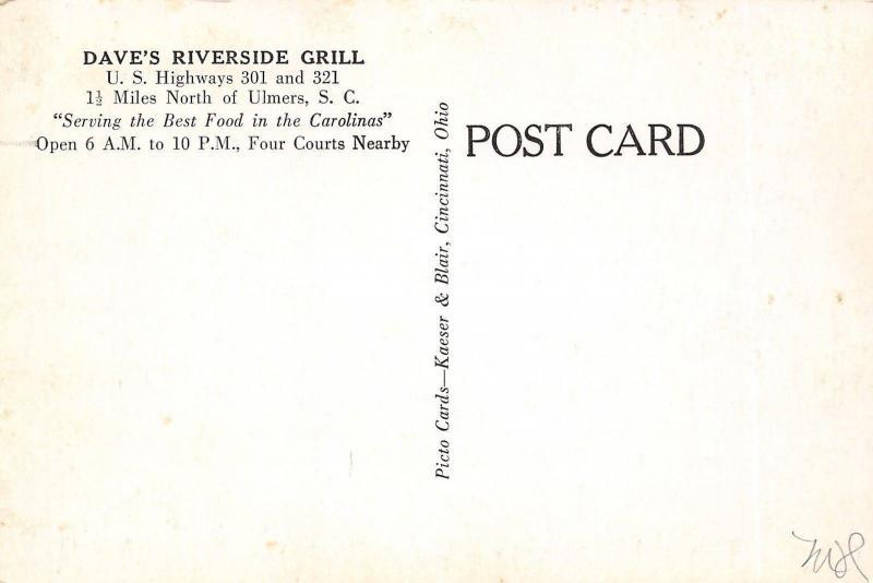 Ulmers South Carolina~Dave's Riverside Grill~Roadside Diner~1950s Cars~B&W PC