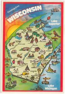 Greetings from WISCONSIN, used Postcard