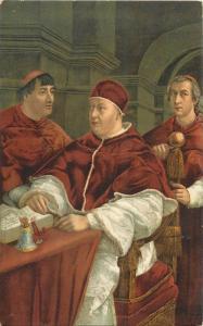 Italy art Pope Leone X e i Cardinali Giulio de Medici e Luigi De`Rossi Raffaello