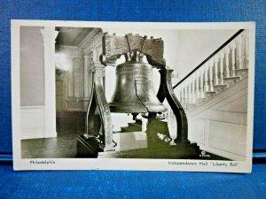 Circa 1950's Philadelphia, Pa. Independence Hall Liberty Bell RPPC Postcard