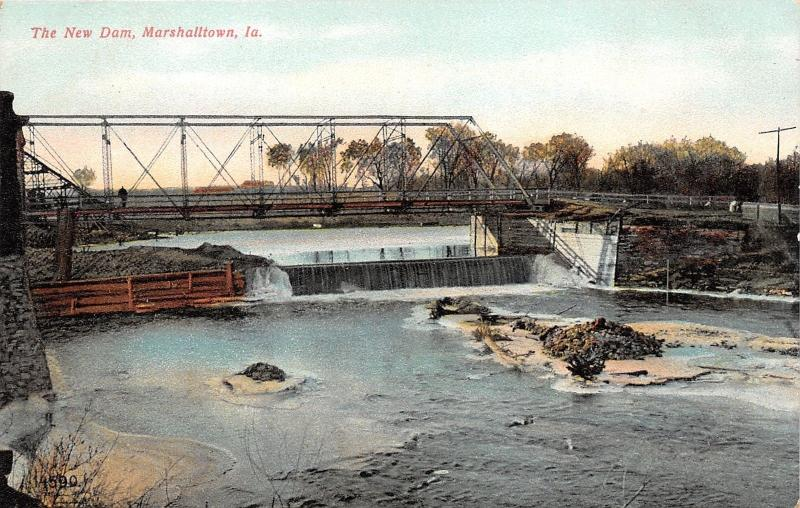 Marshalltown Iowa~New Dam & Street Bridge on IA River~c1910 Souvenir Postcard Co