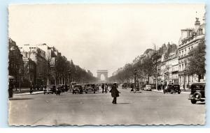 *Paris France Avenue des Champs Elysees Old Cars Vintage Photo Postcard C83