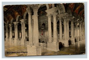 Vintage 1910's Postcard Hall of Columns in the Library of Congress Washington DC