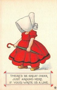 There'd Be Great Cheer Girl Sunbonnet Wall Artist-Signed 1914 Vintage Postcard