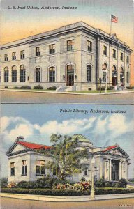 Post Office Pu blic Library Anderson Indiana linen postcard
