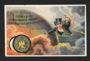 VICTORIAN TRADE CARD Willimantic Thread Cupid & World